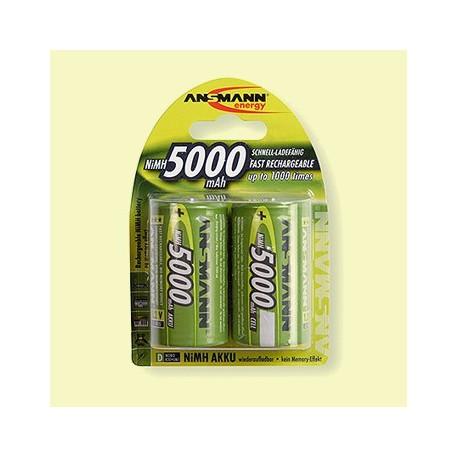 Piles rechargeables R20 1,2 V NiMH (lot de 2)